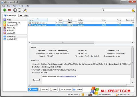 Скріншот qBittorrent для Windows XP
