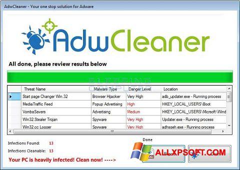 Скріншот AdwCleaner для Windows XP