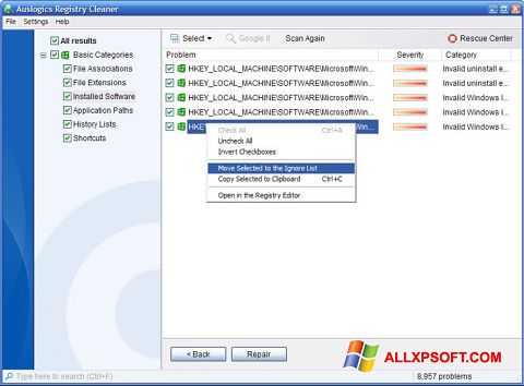 Скріншот Auslogics Registry Cleaner для Windows XP