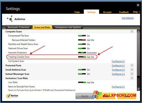 Скріншот Norton для Windows XP