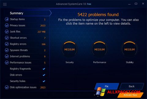 Скріншот Advanced SystemCare Free для Windows XP