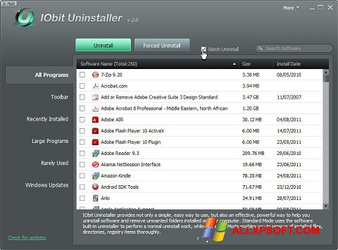 Скріншот IObit Uninstaller для Windows XP