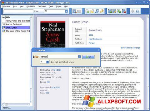 Скріншот All My Books для Windows XP