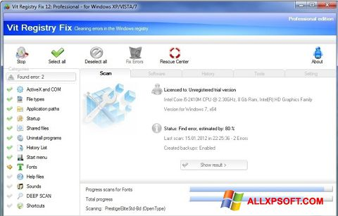 Скріншот Vit Registry Fix для Windows XP