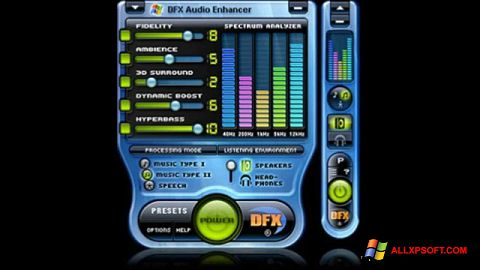 Скріншот DFX Audio Enhancer для Windows XP