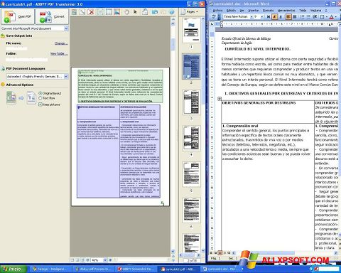 Скріншот ABBYY PDF Transformer для Windows XP
