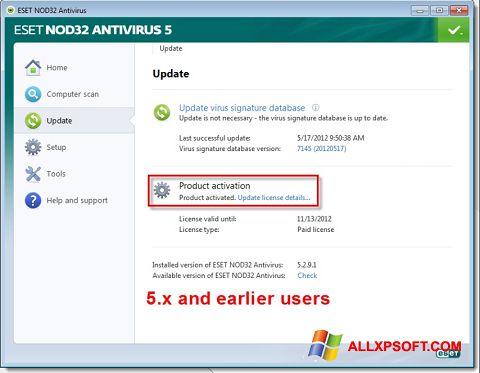 Скріншот ESET NOD32 для Windows XP
