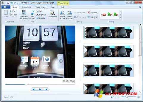 Скріншот Windows Live Movie Maker для Windows XP